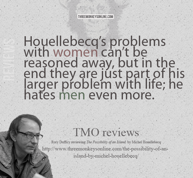 Houellebecq's problems with women can't be reasoned away, but in the end they are just part of his larger problem with life; he hates men even more.