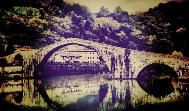 Ponte della Maddalena - also known as the Devil's Bridge, in Borgo a Mazzano, Lucca, Tuscany