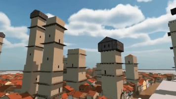 Medieval Bologna in a 3d computer generated animation