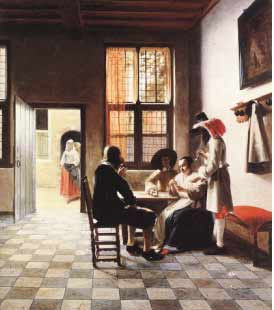 Pieter de Hooch's Card Players in a Sunlit Room