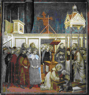 Giotto or follower, <i>Institution of the Christmas crib at Greccio</i>, c.1297-1300, Assisi: San Francesco, Upper Church.</p><br /> <p>