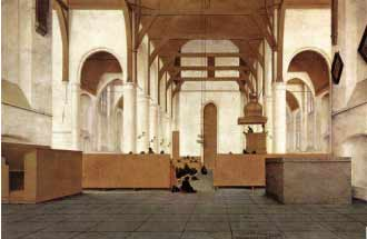 Saenredam's Interior of the church of  St Odulphus (1649)